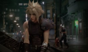 Cloud facing off Shinra Soldiers